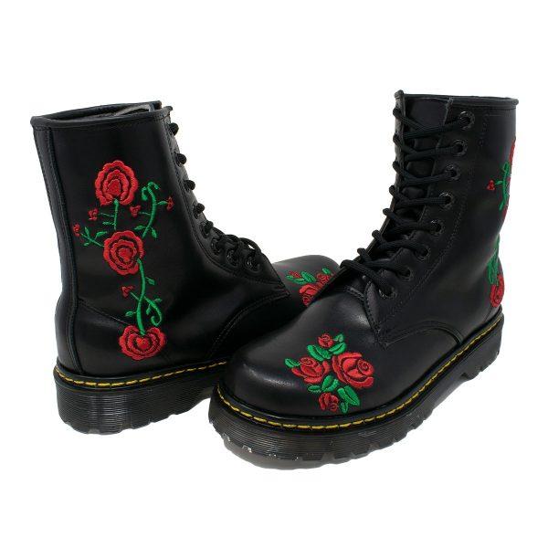Bota Urbana Negra Con Rosas Rojas 2