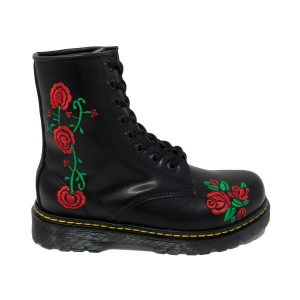 Bota Militar Negra Con Rosas Rojas