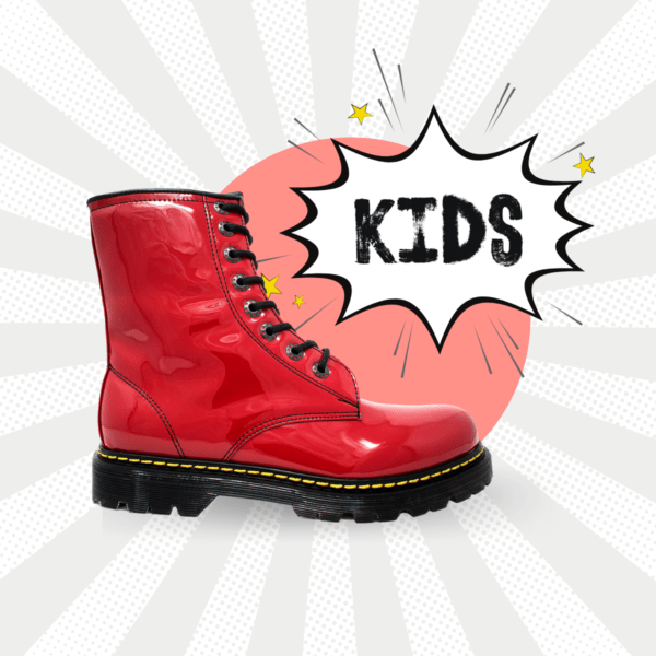 Bota Urbana De Charol Rojo Kids