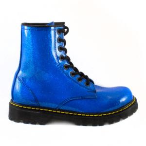 Bota Urbana Con Glitter Azul