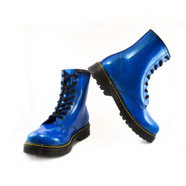 Bota Urbana Con Glitter Azul 4