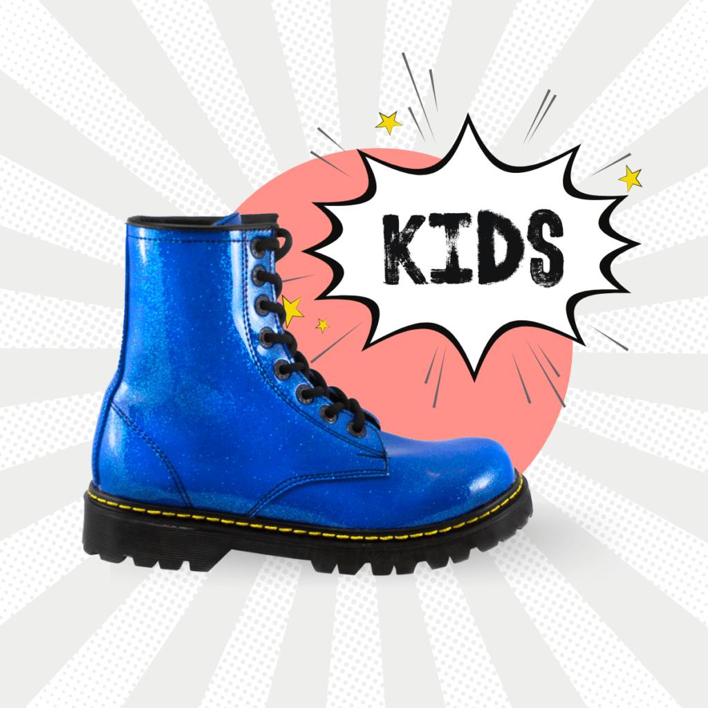 Bota Urbana Con Glitter Azul Kids